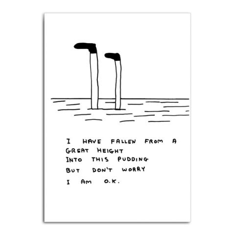 Fallen into a pudding by David Shrigley greeting card