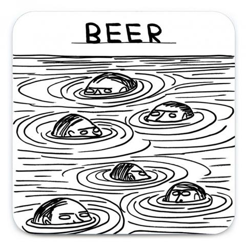 Beer swimmers by David Shrigley coaster
