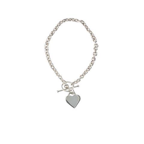 Heart silver chain bracelet