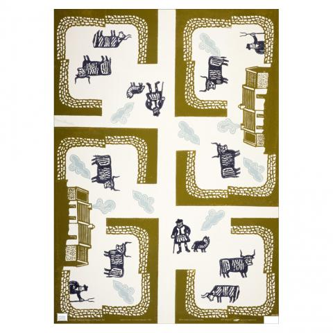 Farm with Highland Cattle Edward Bawden Gift Wrap Sheet