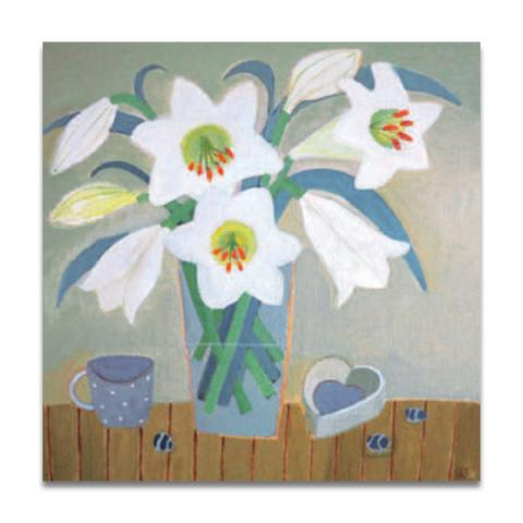 Lilies and heart greeting card