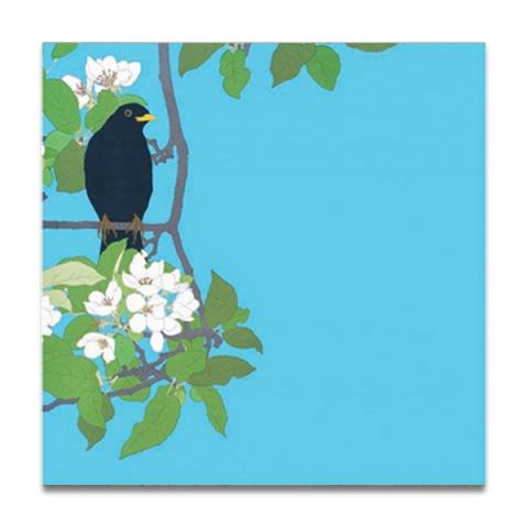Blossom with birds greeting card