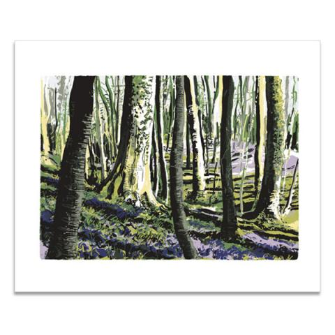 Purple carpet woodland greeting card