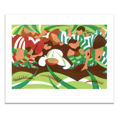 Rugby scrum greeting card