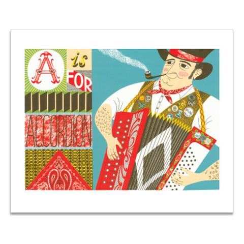 A is for Accordion greeting card