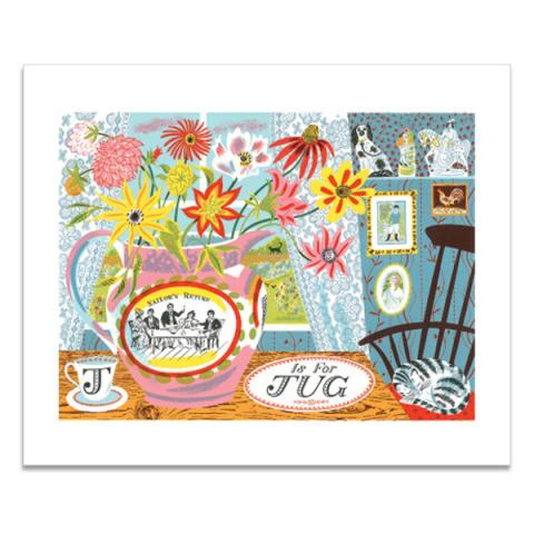 J is for jug greeting card