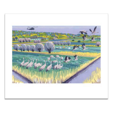 Level cranes greeting card
