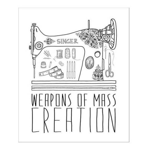 Weapons of mass creation (sewing) greeting card