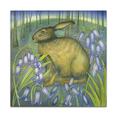 The bluebell hare greeting card