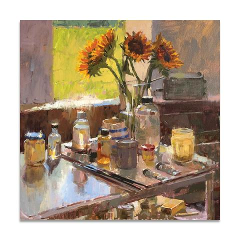 Sunflowers in the studio greeting card