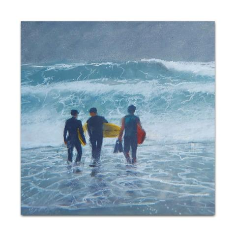 Atlantic surfers greeting card