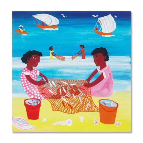 Madagascar fishing girls greeting card