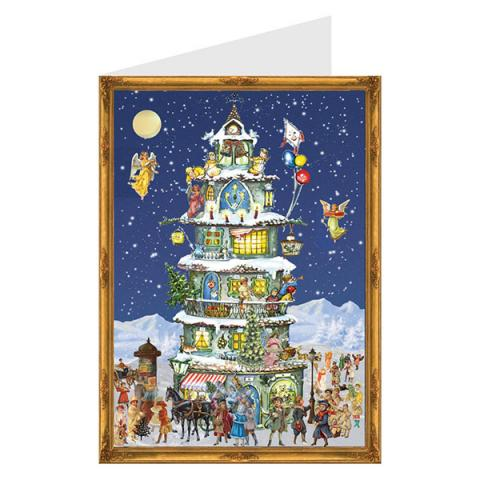 Mini advent calendar greeting card with Christmas tower