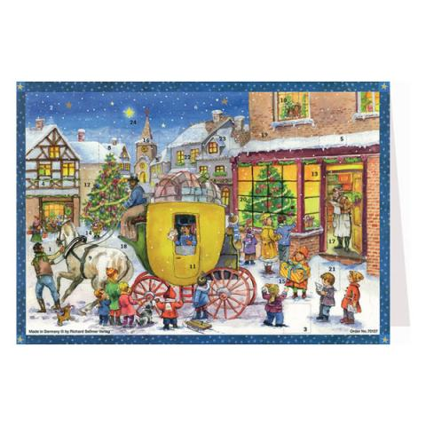 Mini advent calendar greeting card with carriage