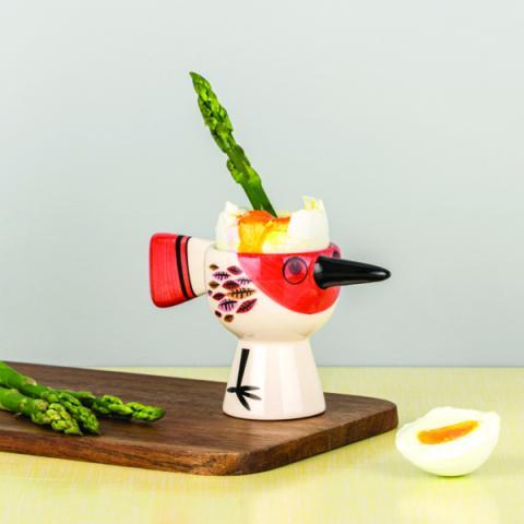 Red bird ceramic egg cup