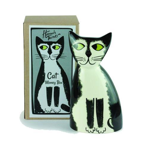 Black and white cat ceramic money box
