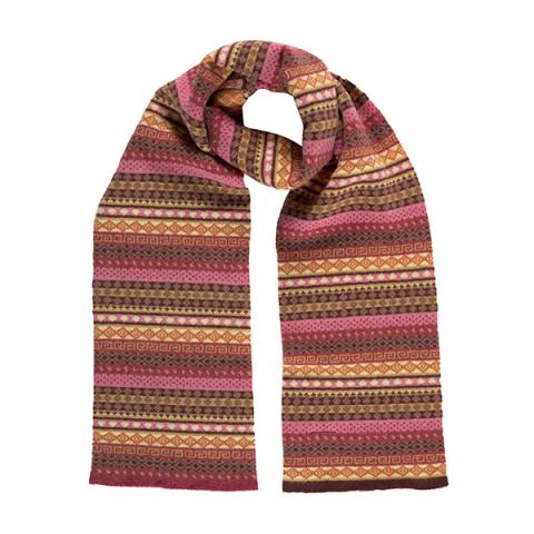 100% pure new wool Kilda stripe pattern brown and pink scarf