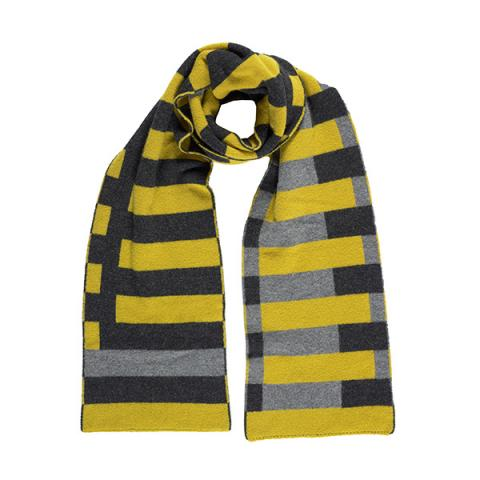 100% pure new wool Bauhaus black and yellow scarf