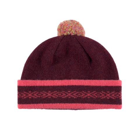 100% pure new wool Islay pattern deep red and pink hat