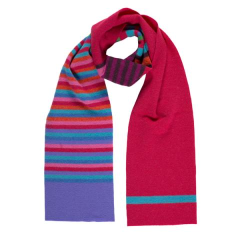 100% pure new wool stripe pattern Bellany cerise pink slim scarf