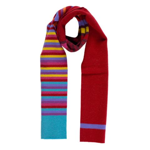 100% pure new wool stripe pattern Bellany red slim scarf