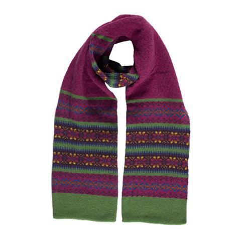 100% pure new wool Islay stripe pattern cornelian scarf