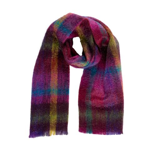 Luxurious mohair mosaic pattern pink /purple scarf