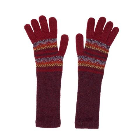 100% pure new wool Islay pattern deep red and orange gloves