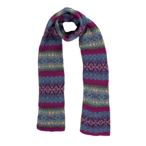 100% pure new wool Islay stripe pattern blue and lilac slim scarf