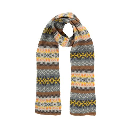 100% pure new wool Islay stripe pattern quicksilver slim scarf