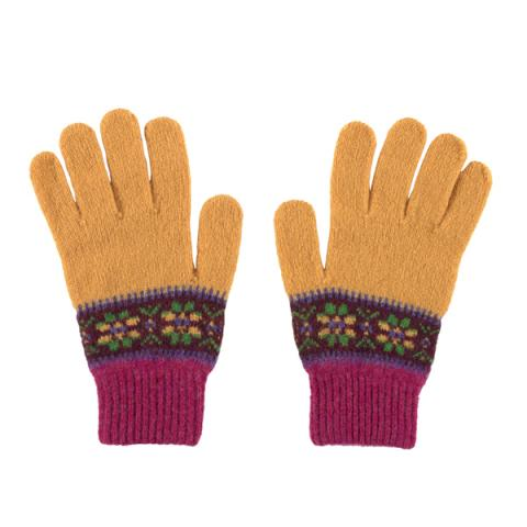 100% pure new wool Islay stripe pattern mustard and pink gloves