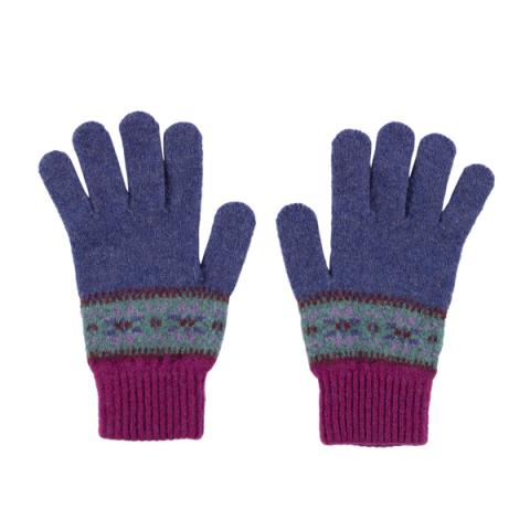 100% pure new wool Islay pattern lupin gloves