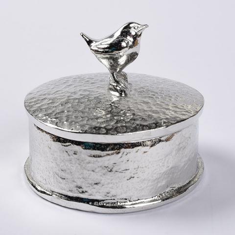 Pewter hand-crafted wren trinket box