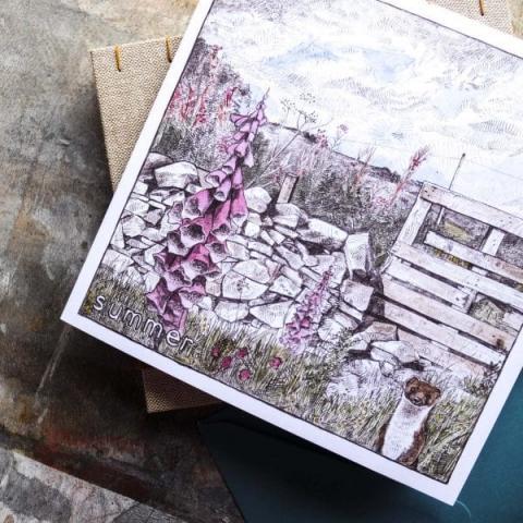 Summer foxgloves greeting card by Hannah Longmuir
