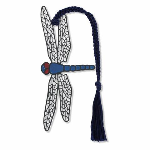 Tiffany inspired dragonfly brass bookmark
