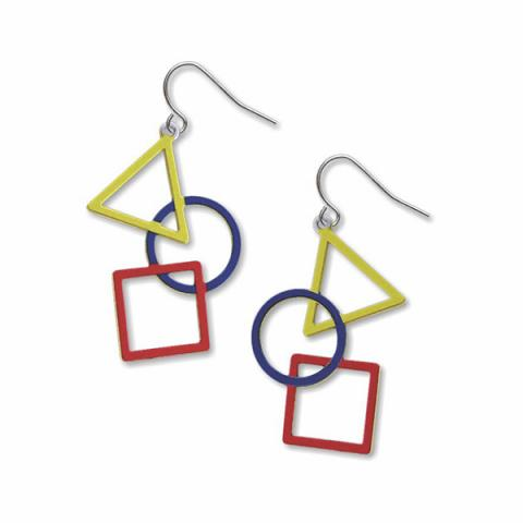 Triangle, circle & square drop earrings
