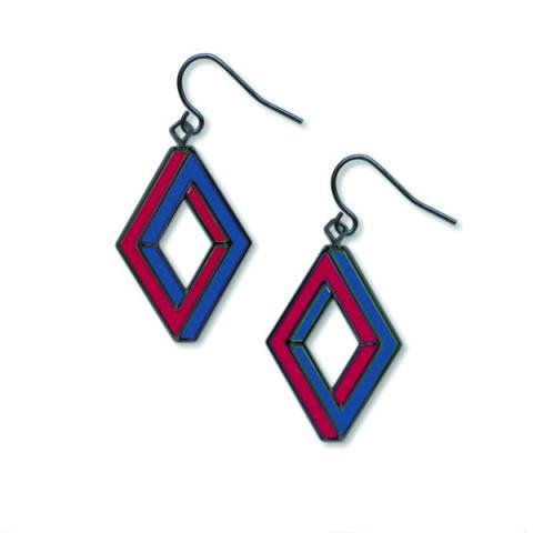 Penrose rectangle op art garnet drop earrings