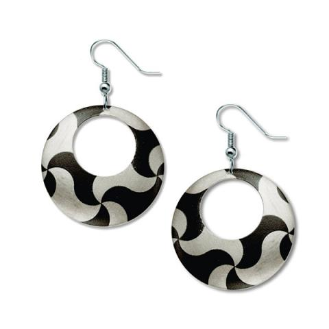 Tessellation silver and black drop earrings