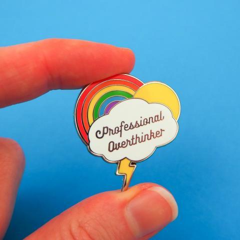 Professional overthinker enamel pin