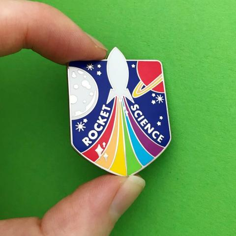 Rocket science rainbow enamel pin