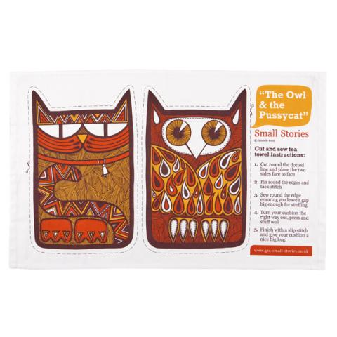 Small stories Owl & Pussycat 'cut and sew' Illustrated Tea Towel