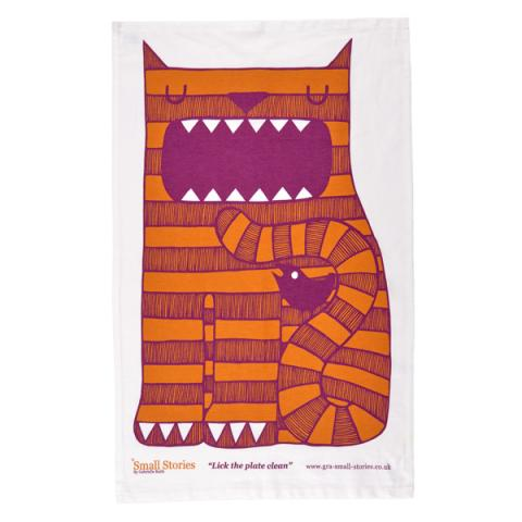 Small Stories Feed Me Cat Tea Towel