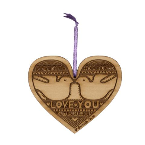 Small Stories Lovebirds Heart Decoration