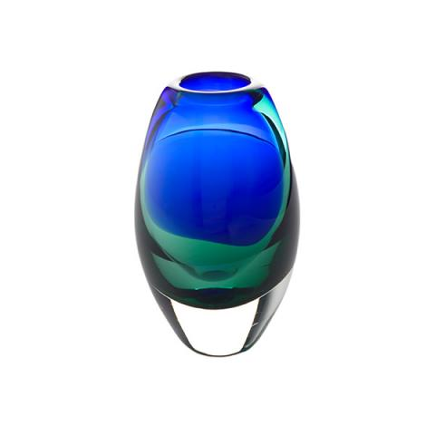 Blue and green tidal posy glass vase