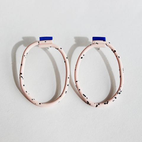 Medium loop pink and blue coloured handmade earrings
