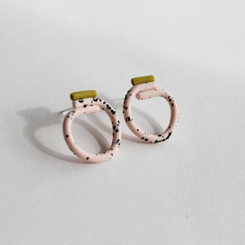 Small loop pink and olive coloured handmade earrings