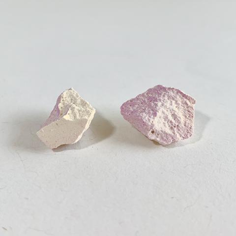 Large rock purple and orange coloured handmade stud earrings