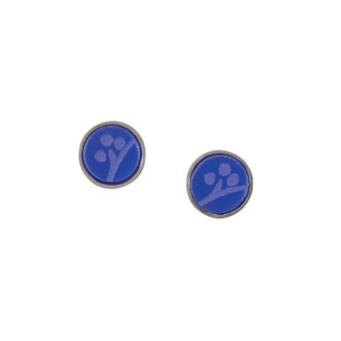 Cobalt acrylic and silver stud earrings