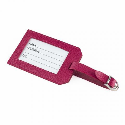 Leather Luggage Tag Fuchsia Pink