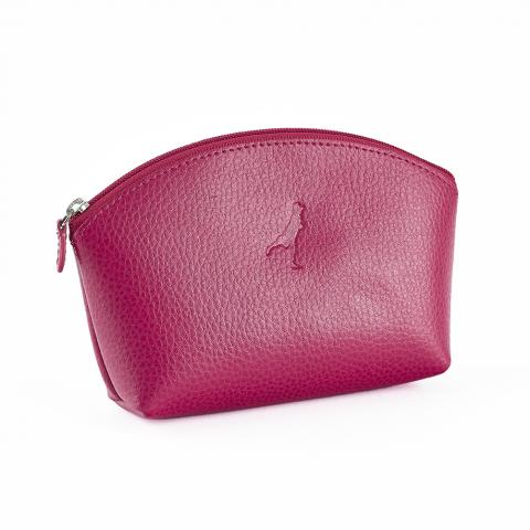 Embossed fuchsia pink leather make up bag